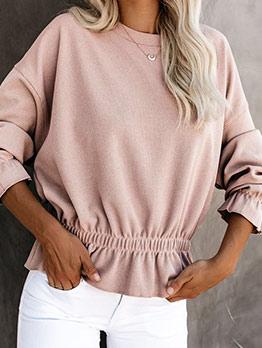 Slim Waist Pure Color Fashion Blouse