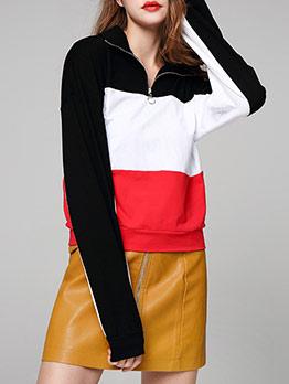 Contrast Color Zipper Neck Sweatshirts For Women