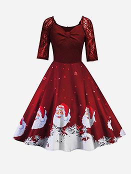 Christmas Santa Claus Large Swing Ladies Dress