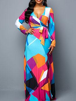 Color Block Tie-Wrap V Neck Plus Size Maxi Dresses
