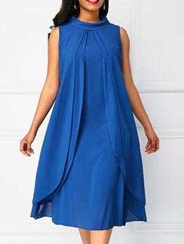 Casual Pure Color O Neck Sleeveless Dress