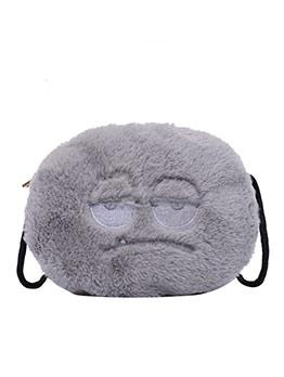 Round Cartoon Pattern Fluffy Small Shoulder Bag