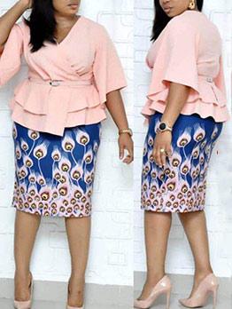 V Neck Ruffle Blouse With Print High Waist Skirt