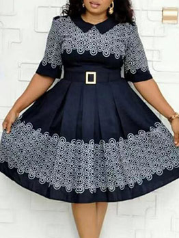 Fitted Large Hem Print Short Sleeve African Dress