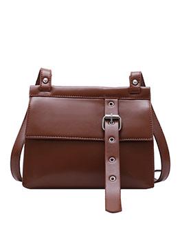 Retro Buckle Strap Solid Shoulder Bags