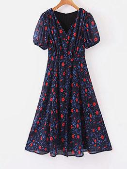 V Neck Lateran Sleeve Short Sleeve Floral Dress