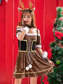 Lovely Plush Patchwork Elk Cosplay Christmas Dress
