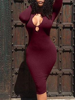 Winter Sexy Thicker Burgundy Long Sleeve Dress