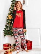 Elk Print Long Sleeve Casual Christmas Family Sets