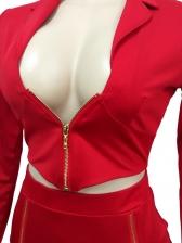 Sexy V Neck Zipper Up Blazer And Skirt Set