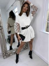 Polka Dots Tulle Puff Sleeve High Neck Short Dress