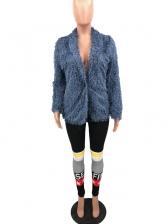 V Neck Fuzzy Long Sleeve Winter Coats