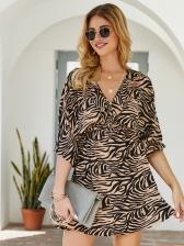 Leopard Print v Neck Dresses For Women