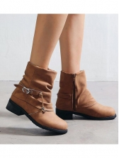 Buckle Strap Decor Booties For Women