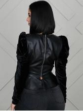 Patchwork Leather Ruffled Hem Black Blouse