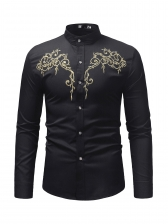 Stylish Embroidery Stand Collar Button Down Shirt