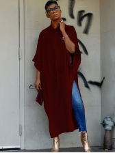 Pure Color Hooded Split Casual Maxi Dresses