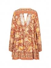 Casual Flowers Printing Long Sleeve Short Dress