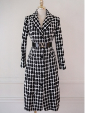 OL Style Lapel Fitted Plaid Long Coat