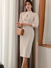 OL Style Three Quarter Sleeve Solid Ladies Dress