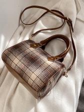 Plaid Round Vintage Shoulder Bags