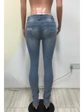 Mid Waist Knee Hole Skinny Women Ripped Jeans