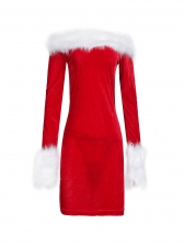 Plush Patchwork Fitted Off Shoulder Christmas Dress