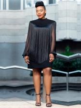 Stand Neck Tassel Black Long Sleeve Short Dress