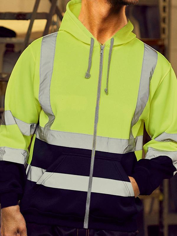 Reflective Color Block Zip Up Hoodies