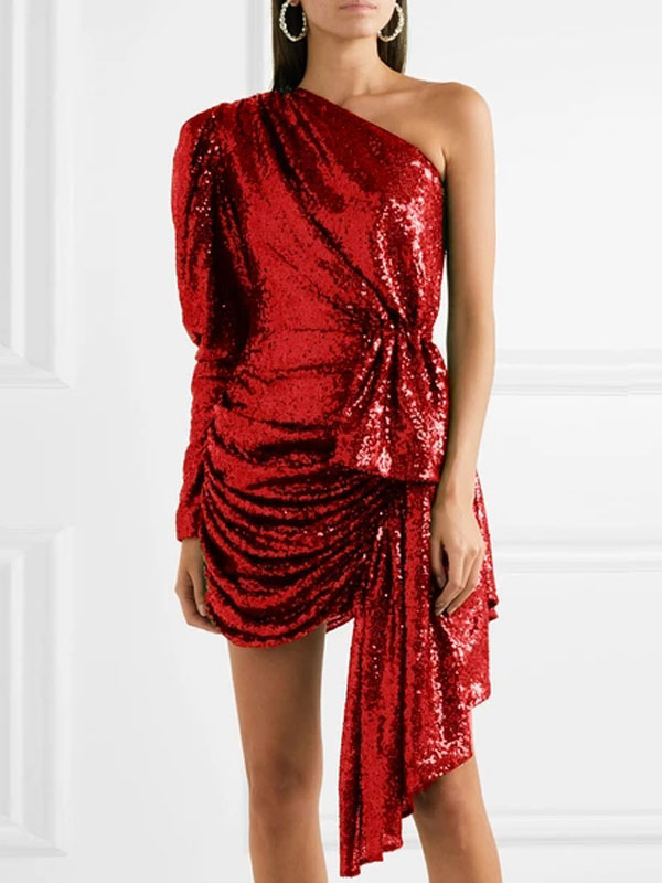 One Shoulder Irregular Sequin Cocktail Dresses