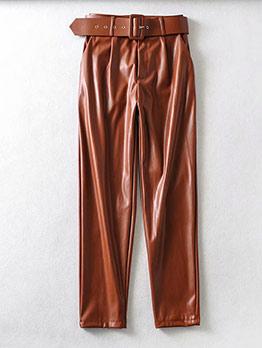 Pu Solid High Waist Pants For Women