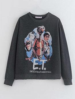 Fashion Stylish Printed Crewneck Sweatshirt