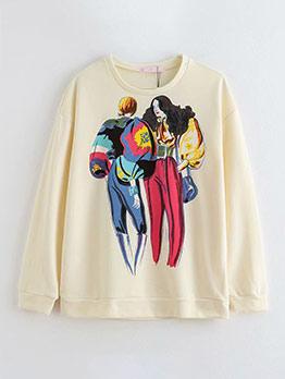 Fashion Figure Printed Sweatshirts For Women