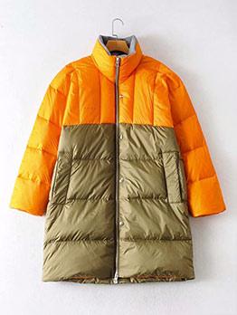 Contrast Color Long Puffer Coat