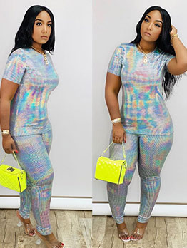 Short Sleeve Hologram Two Piece Pants Set