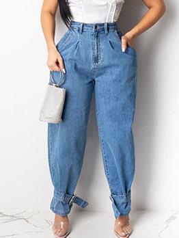 Pure Color High Waist Dark Blue Jogger Jeans