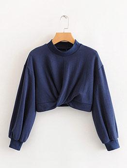 Solid Twist Hem Cropped Sweatshirt