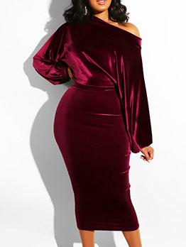 Velvet Off Shoulder Long Sleeve Midi Dress