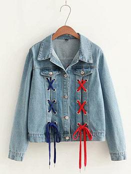 Fashion Lace Up Denim Jackets