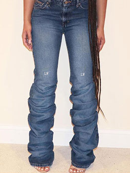 Letter Embroidered Pleated Jeans For Women