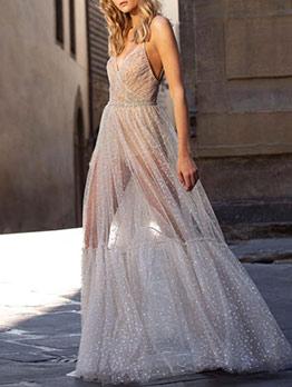 Backless Deep V Neck Dots Gauze Evening Maxi Dresses