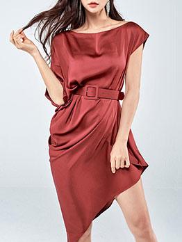 Elegant Lustrous Solid Asymmetric Hem Ladies Dress
