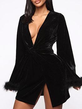 V Neck Twist Long Sleeve Velvet Dress