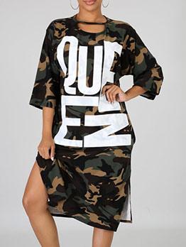 Camouflage Letter Print Loose Long Sleeve Midi Dress