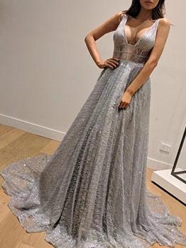 Low-Cut Backless Sleeveless Silver Evening Dress