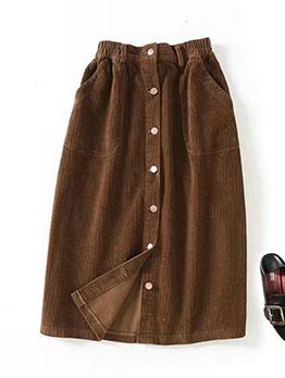 Vintage Single Breasted Corduroy Skirt