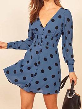 Vintage v Neck Elastic Wasted Long Sleeve Dress
