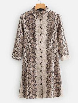 Euro Snake Skin Printed Shirt Dresses Online