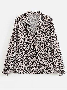 Vintage V Neck Leopard Print Blouse