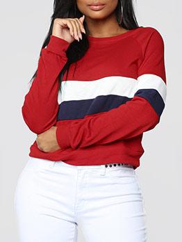 Stitching Color Stripes Short Crewneck Sweatshirt